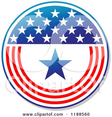 Clipart of a Round American Stars and Stripes Label 6 - Royalty Free Vector Illustration by Vector Tradition SM