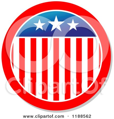 Clipart of a Round American Stars and Stripes Label 4 - Royalty Free Vector Illustration by Vector Tradition SM