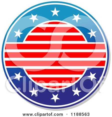Clipart of a Round American Stars and Stripes Label - Royalty Free Vector Illustration by Vector Tradition SM