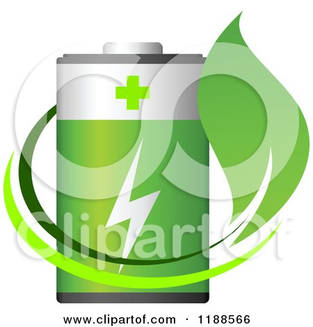 Clipart of a Green Battery and Leaf - Royalty Free Vector Illustration by Vector Tradition SM