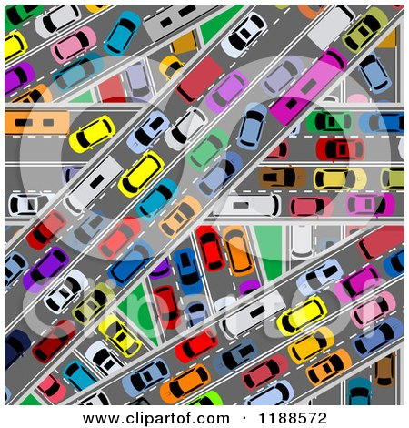 Clipart of an Aerial View down on Congested Traffic Roads - Royalty Free Vector Illustration by Vector Tradition SM