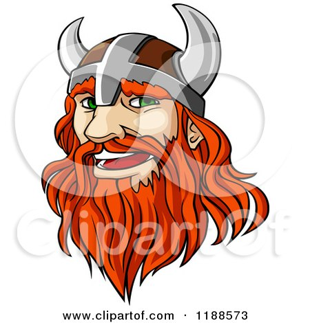 Clipart of a Red Haired Viking Warrior with a Long Beard - Royalty Free Vector Illustration by Vector Tradition SM
