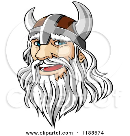 Clipart of a White Haired Viking Warrior with a Long Beard - Royalty Free Vector Illustration by Vector Tradition SM