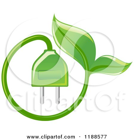 Clipart of a Green Leaf and Electrical Plug - Royalty Free Vector Illustration by Vector Tradition SM