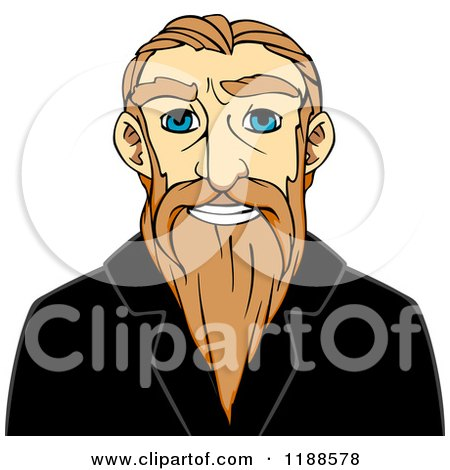 Clipart of a Happy Senior Man with a Long Beard - Royalty Free Vector Illustration by Vector Tradition SM