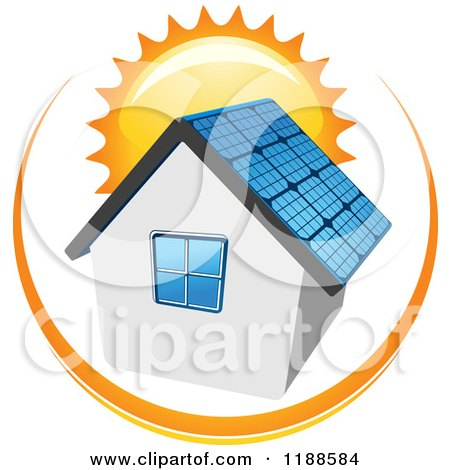 Clipart of a House with a Solar Panel Roof and Sun - Royalty Free Vector Illustration by Vector Tradition SM