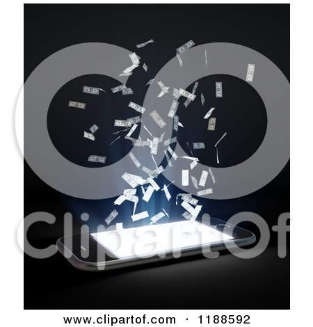 Clipart of a 3d Cell Phone with Bright Light and Cash, on Black - Royalty Free CGI Illustration by Mopic