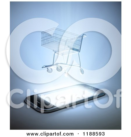 Clipart of a 3d Shopping Cart Hovering over a Cell Phone with Bright Light - Royalty Free CGI Illustration by Mopic