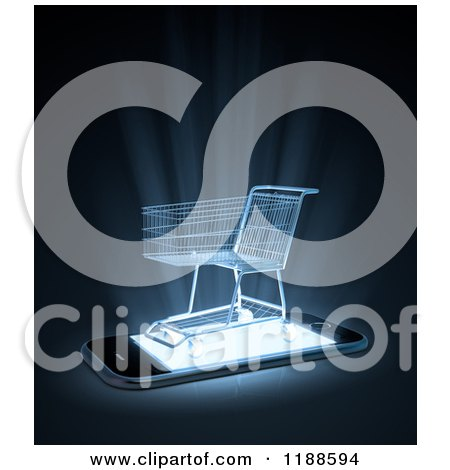 Clipart of a 3d Shopping Cart on a Cell Phone with Bright Light - Royalty Free CGI Illustration by Mopic