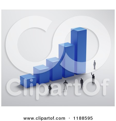 Clipart of a 3d Blue Bar Graph with Tiny People on Gray - Royalty Free CGI Illustration by Mopic