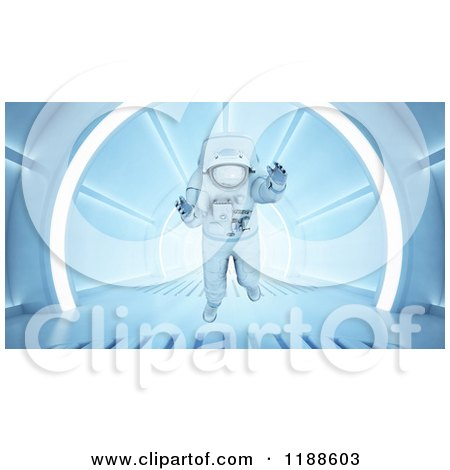 Clipart of a 3d Astronaut Floating in a Tunnel - Royalty Free CGI Illustration by Mopic