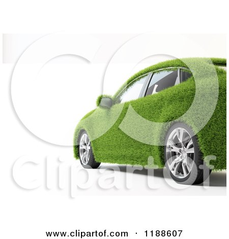 Clipart of a 3d Green Grass Car over White - Royalty Free CGI Illustration by Mopic