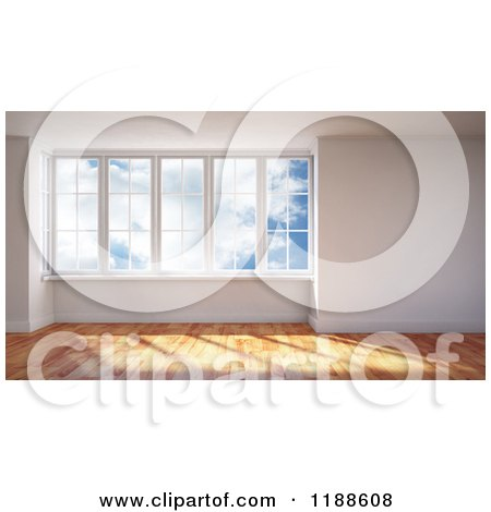 Clipart of a 3d Room Interior with Wood Floors and Large Windows Viewing a Sky - Royalty Free CGI Illustration by Mopic