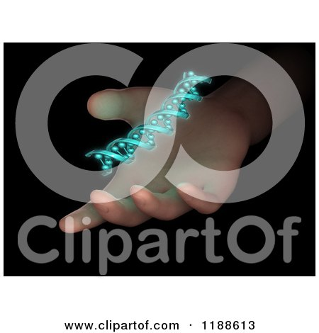 Clipart of a 3d Dna Strand over a Hand, on Black - Royalty Free CGI Illustration by Mopic