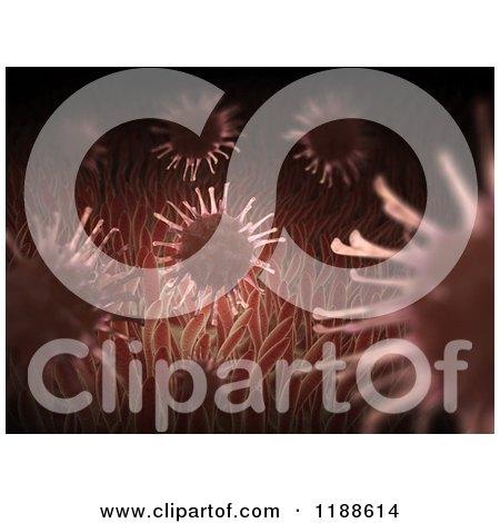 Clipart of 3d Viruses Inside a Human Body - Royalty Free CGI Illustration by Mopic