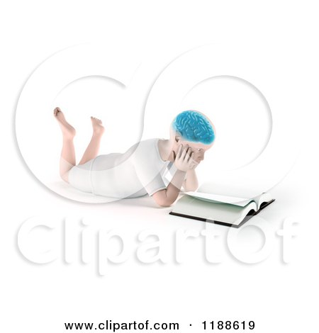 Clipart of a 3d Child with a Visible Brain, Reading a Book on the Floor - Royalty Free CGI Illustration by Mopic