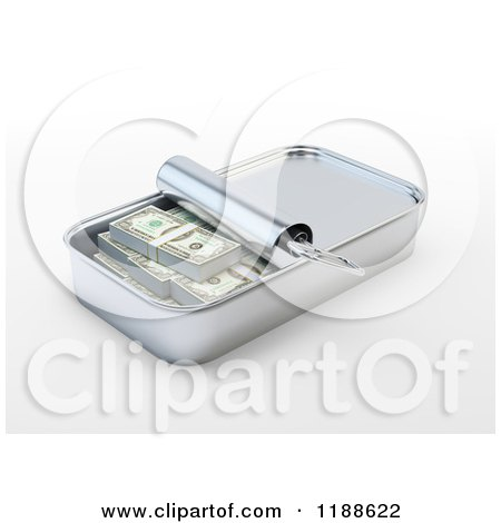 Clipart of a 3d Sardine Can Full of Cash - Royalty Free CGI Illustration by Mopic
