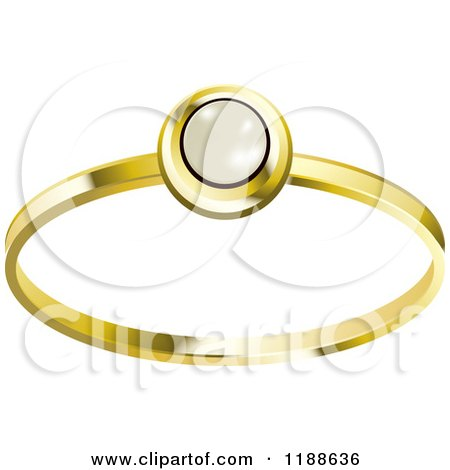Clipart of a Gold Ring with a Pearl Royalty Free Vector