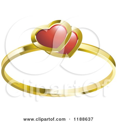 Gold Wedding Ring With Red Ruby Hearts