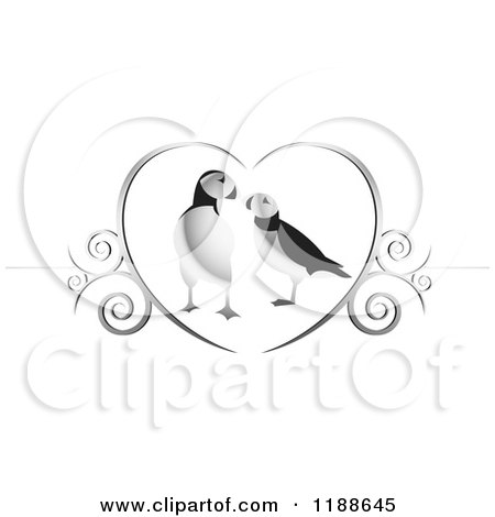 Clipart of a Puffin Pair in a Silver Heart with Swirls - Royalty Free Vector Illustration by Lal Perera