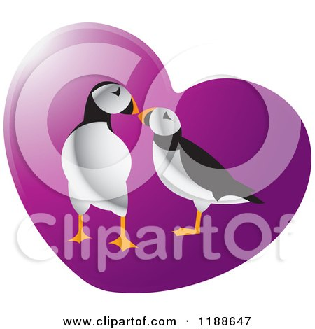 Clipart of a Puffin Pair over a Purple Heart - Royalty Free Vector Illustration by Lal Perera