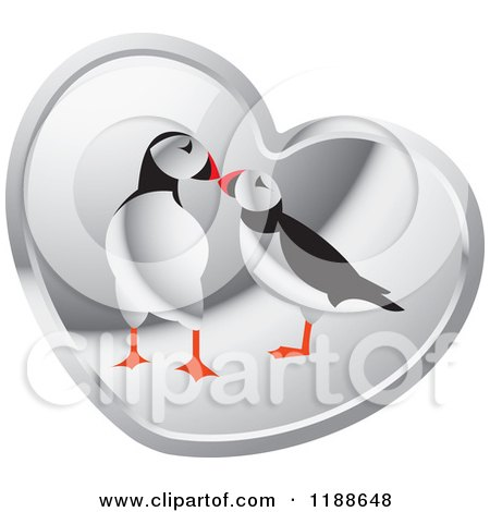 Clipart of a Puffin Pair over a Silver Heart - Royalty Free Vector Illustration by Lal Perera