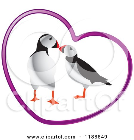 Clipart of a Puffin Pair in a Purple Heart - Royalty Free Vector Illustration by Lal Perera