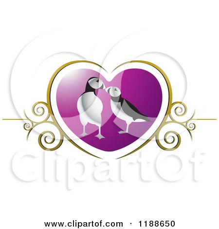 Clipart of a Puffin Pair over a Purple Heart with Gold Swirls - Royalty Free Vector Illustration by Lal Perera
