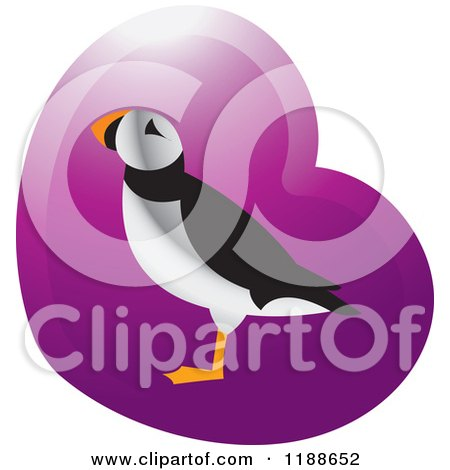 Clipart of a Puffin Bird over a Purple Heart 2 - Royalty Free Vector Illustration by Lal Perera