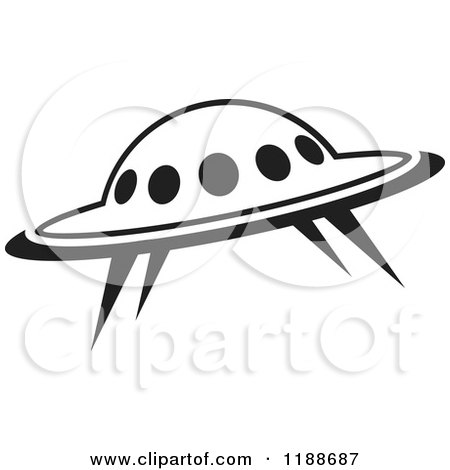 Clipart of a Black and White UFO Icon - Royalty Free Vector Illustration by Lal Perera