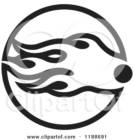 Clipart of a Black and White Comet Icon - Royalty Free Vector Illustration by Lal Perera
