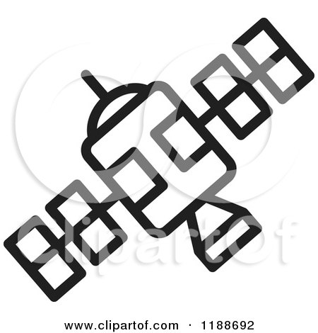 Clipart of a Black and White Space Satellite Icon - Royalty Free Vector Illustration by Lal Perera