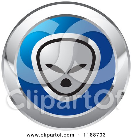 Clipart of a Round Silver and Blue Alien Icon - Royalty Free Vector Illustration by Lal Perera