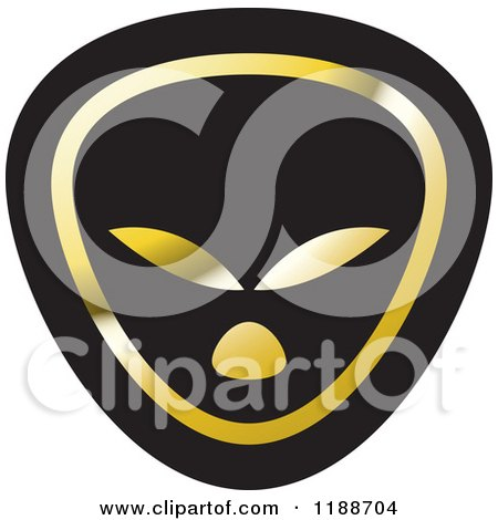 Clipart of a Black and Gold Alien Icon - Royalty Free Vector Illustration by Lal Perera