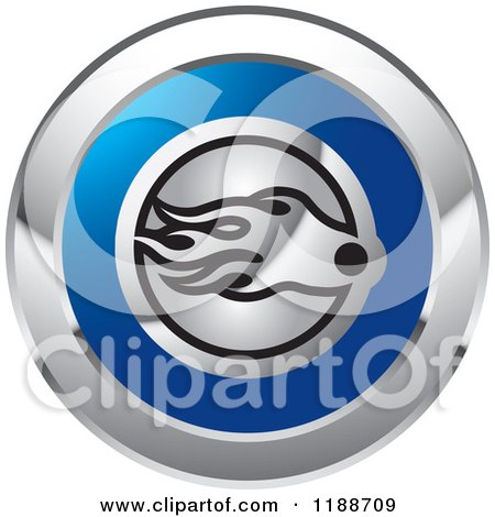 Clipart of a Round Silver and Blue Comet Icon - Royalty Free Vector Illustration by Lal Perera