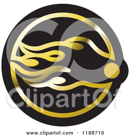 Clipart of a Black and Gold Comet Icon - Royalty Free Vector Illustration by Lal Perera