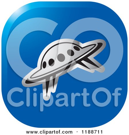 Clipart of a Square Blue and Silver UFO Icon - Royalty Free Vector Illustration by Lal Perera