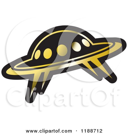 Clipart of a Black and Gold UFO Icon - Royalty Free Vector Illustration by Lal Perera