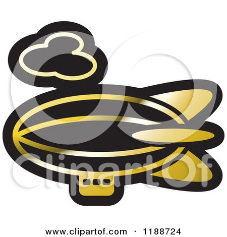 Clipart of a Black and Gold Air Ship Icon - Royalty Free Vector Illustration by Lal Perera