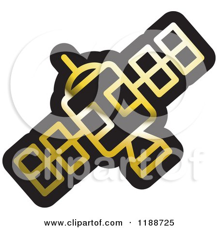 Clipart of a black and white space satellite icon royalty free