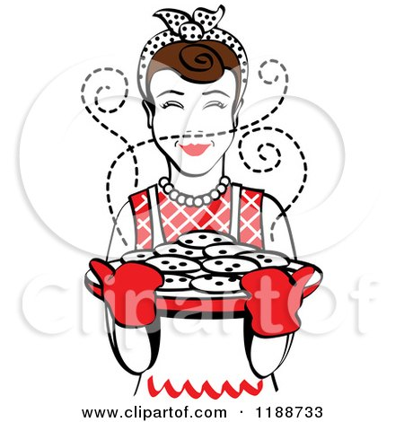 Clipart of a Retro Brunette Housewife Holding Freshly Baked Cookies - Royalty Free Vector Illustration by Andy Nortnik