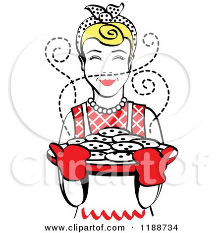 Clipart of a Retro Blond Housewife Holding Freshly Baked Cookies - Royalty Free Vector Illustration by Andy Nortnik
