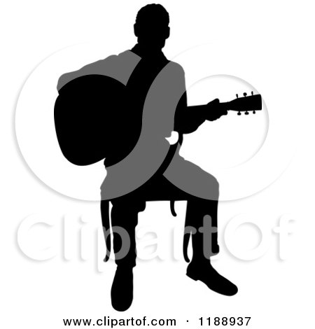 Clipart of a Black Silhouetted Man Playing a Guitar in a Chair - Royalty Free Vector Illustration by Maria Bell