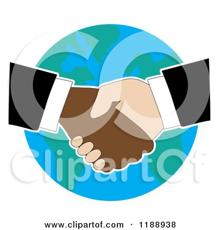 Cartoon of Diverse Business Men Shaking Hands over Earth - Royalty Free Vector Clipart by Maria Bell