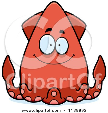 Cartoon of a Happy Squid - Royalty Free Vector Clipart by Cory Thoman