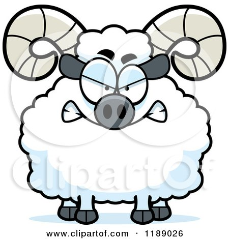 Cartoon of a Mad Ram Mascot - Royalty Free Vector Clipart by Cory Thoman