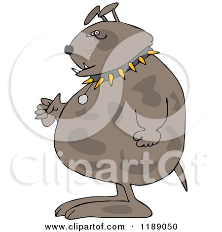 Cartoon of a Junk Yard Dog Standing Upright with Fisted Paws - Royalty Free Vector Clipart by djart
