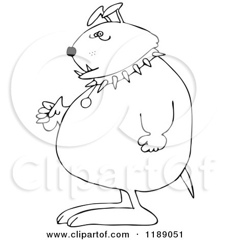 Cartoon of an Outlined Junk Yard Dog Standing Upright with Fisted Paws - Royalty Free Vector Clipart by djart
