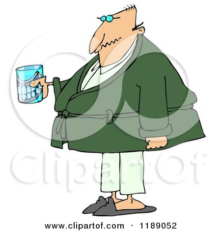 Cartoon of a Senior Man with a Cane and Teeth in a Glass - Royalty Free Clipart by djart
