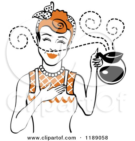 Clipart of a Redhead Waitress or Housewife Smelling the Aroma of Fresh Hot Coffee in a Pot - Royalty Free Vector Illustration by Andy Nortnik